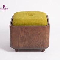 Рамка твердой древесины ног стул оттоманская коробка Многофункциональный пуф деревянная подставка для ног мягкое сиденье Подушка в виде к