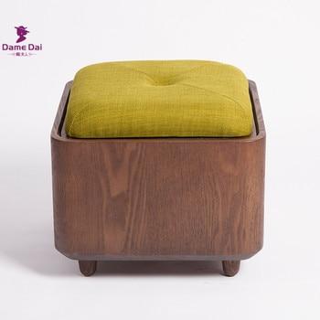 Taburete de apoyo de pie con marco de madera maciza, taburete de almacenamiento otomano, bolsa multifuncional, reposapiés de madera, cojín de asiento suave, caja de almacenamiento otomana