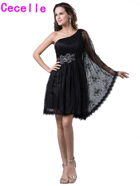 2019 Black Lace Short Knee Length One Shoulder Homecoming Dresses Long  Sleeves Beaded Belt Teens Informal Party Gowns Real Image 6377d733e