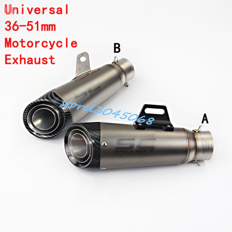 61mm Universal Motorcycle 51mm Exhaust Pipe Modified Carbon Fiber S C GP Muffler Racing For R6 S1000RR CBR500 ZX-6R Z900 GSXR600 laser mark universial motorcycle motorcross dirt bike modified muffler sc carbon fiber exhaust pipe 61mm 51mm with connector