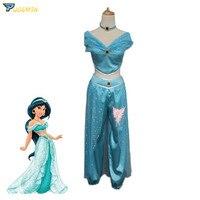 Aladdin Jasmine Princess Cosplay Women Girl Fancy Dress Up Party Costume
