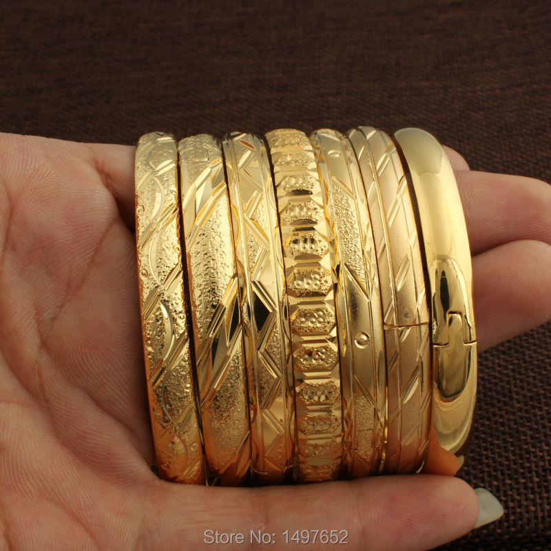 Newest Dubai Gold Bangles For Women Men18k Gold Color Wide 8MM Bracelets African/European/Ethiopia Jewelry Bangles