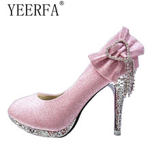 YEERFA New Fashion Sexy Women Silver Rhinestone Wedding Shoes Platform Pumps Red Bottom High Heels Crystal Shoes Gold Black Pink