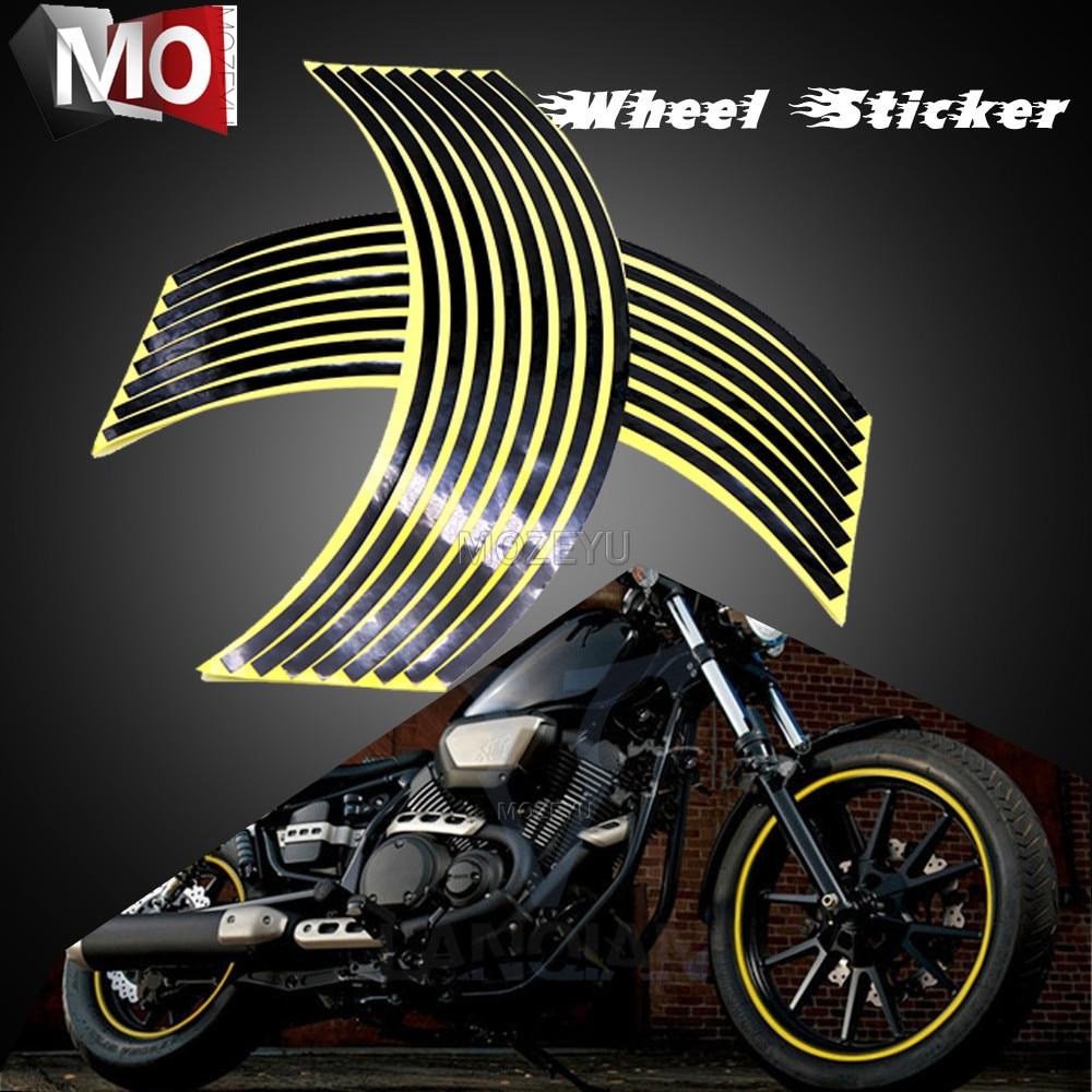 Motorcycle Wheel Stickers Colorful Wheel Stickers Reflective Rim Strip For Yamaha FZ1 FZ6 FZ-07 FZ8 FZ-09 FZ-10 FZS1000 FAZER
