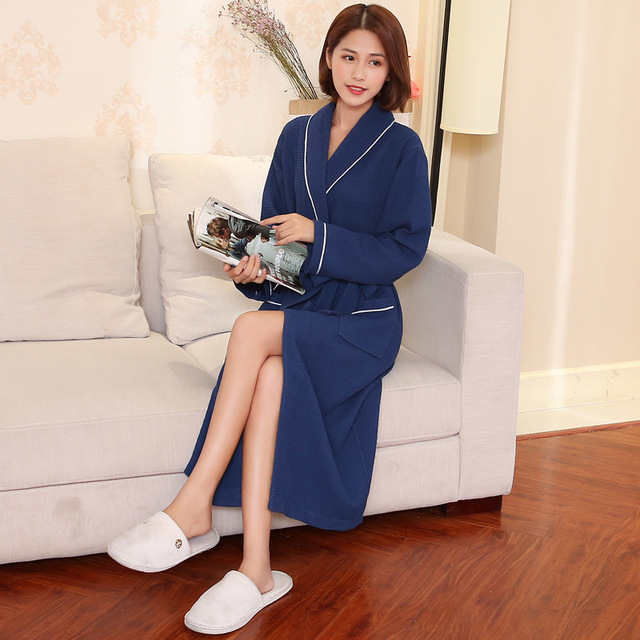 c5c110a894 Women Bathrobe Waffle Cotton Robe Femme Bridesmaid Robes Sexy Long Dressing Gown  Men Couples Spa Bath