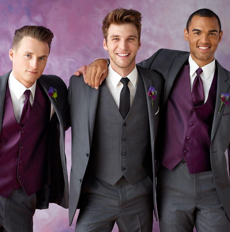 2017 Latest Coat Pant Designs Grey Purple Wedding Suits for Men ...