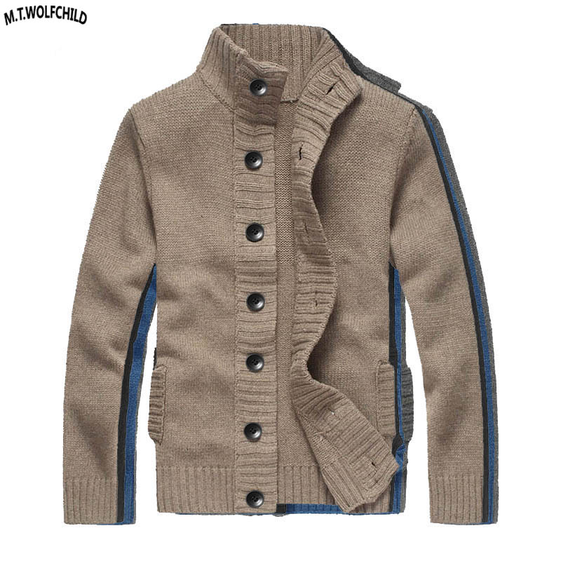 Europe and America 2018 Mens long sleeve stand collar wool sweaters casual cardigan thick mens knit outerwear fashion mens coats