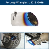 Areyourshop Car New Exhaust Muffler Tail Pipe Tip Tailpipe Trim For Jeep Wrangler JL 2018 2019 Stainless Steel Car Auto Parts