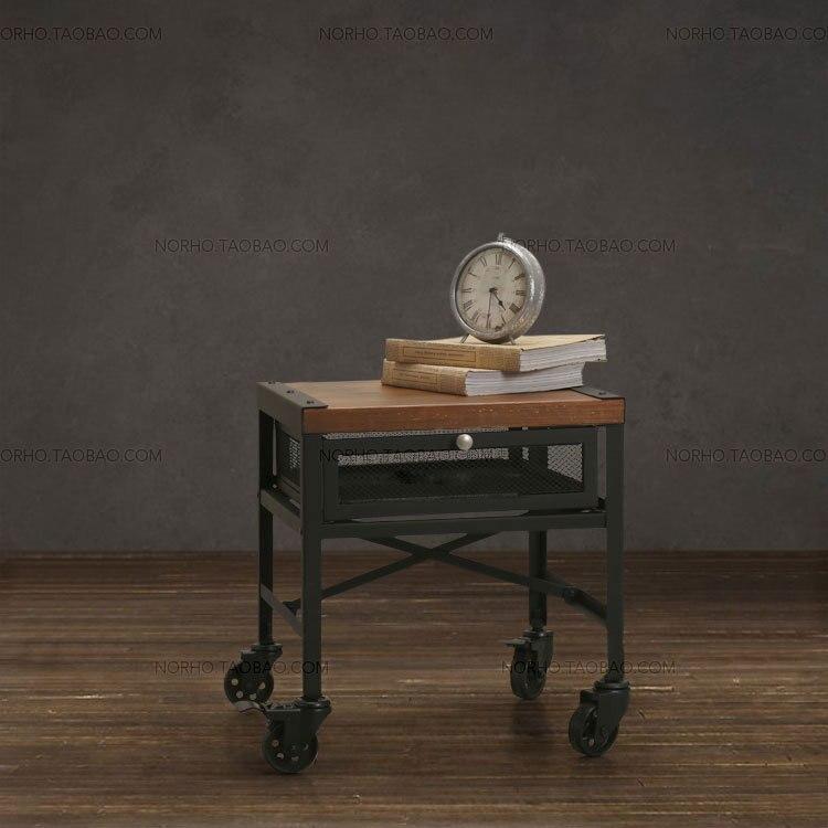 Деревня ретро мебель, классической моды дерева и железо чайный столик, деревянный стол, с колесами прикроватная тумба, с ящиком