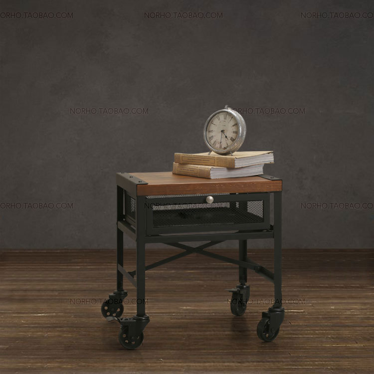 The village of retro furniture,the classical fashion wood and iron tea table,wood table,With wheels Bedside cupboard,With drawer simple fashion table desktop is mdf fine processing the leg of the table is made of solid beech black and white can be chosen
