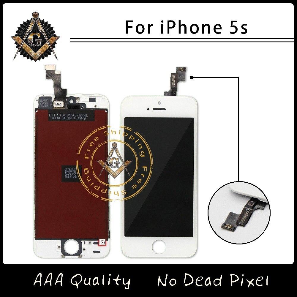 imágenes para 40 Unids/lote 5S AAA Calidad Sin Píxeles Muertos LCD Asamblea Para el iphone Reemplazo 100% Probó El Envío Libre Vía DHL