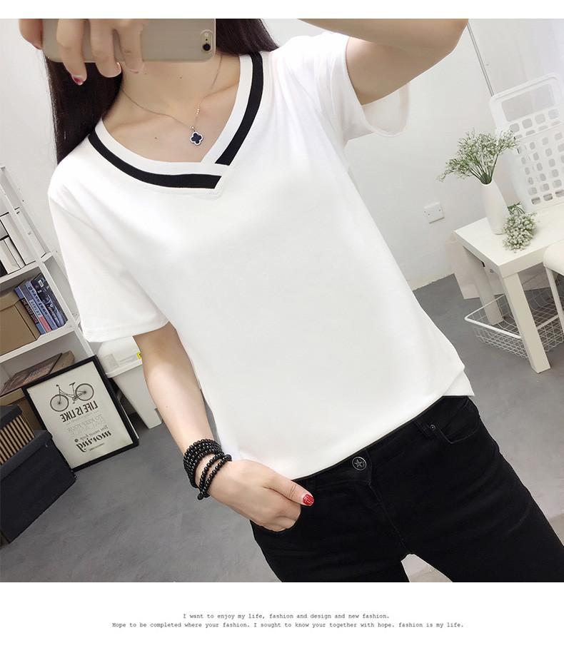 4XL 5XL Plus Size Korean Women's Clothing Fashion Big Size T-shirt Female V neck Short Sleeve Casual obesity Tee Shirt Top Femme 38