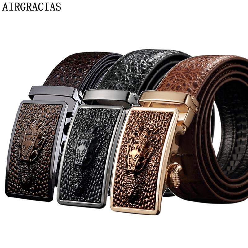 AIRGRACIAS Men Genuine Leather Men Crocodile pattern   Belt   Automatic Buckle Strap Dragon Designer Men High Quality Ceinture Homme