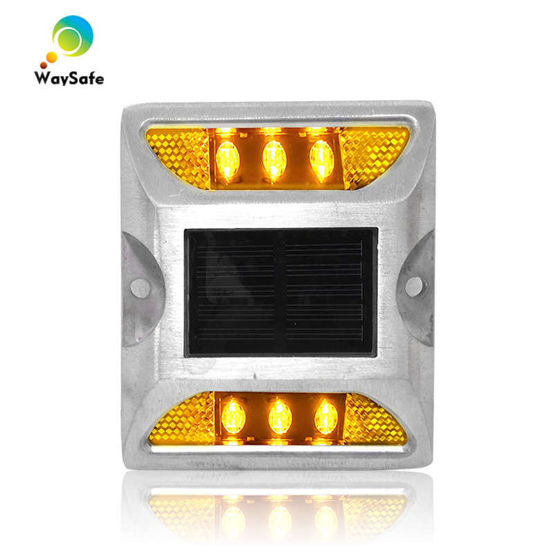 Steady Mode Yellow LED Light Aluminum Housing Waterproof Garden Light Solar Power Road Stud Marker