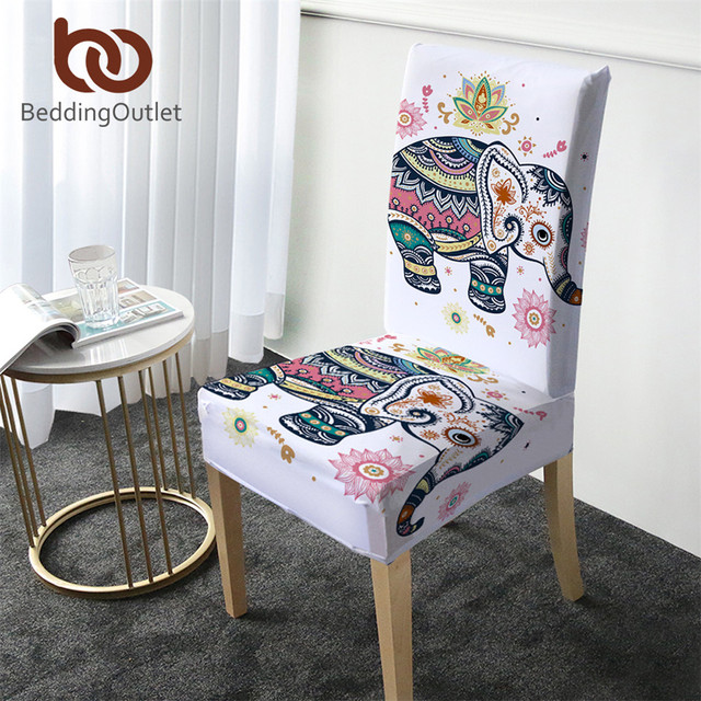 BeddingOutlet Elephant Chair Cover Rainbow Mandala Spandex Slipcover Bohemia Wedding Seat Case Stretch Cover Floral copri sedia