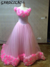 Купить с кэшбэком Elgent Princess Sweep/ Brush Train Big flower Tulle Pink Ball Gownplus size   Wedding Dress robe de mariage princesse