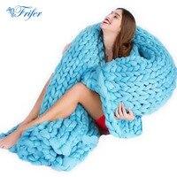 ソフト太線ジャイアント糸ニット毛布手織の写真撮影の小道具毛布crochetllinenソフト編み毛