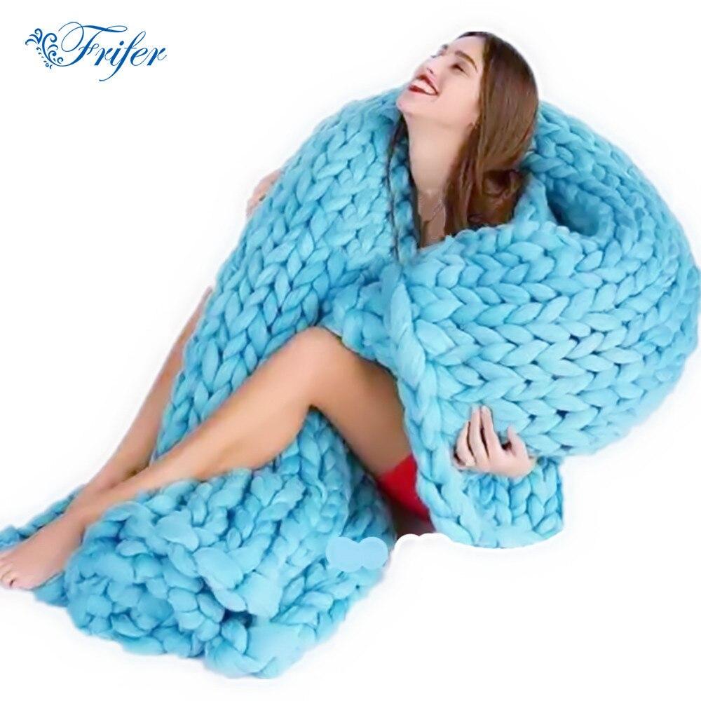 Weiche Dicke Linie Riesen Garn Gestrickten Decke Hand Weben Fotografie Requisiten Decken CrochetLlinen Soft Stricken Decken