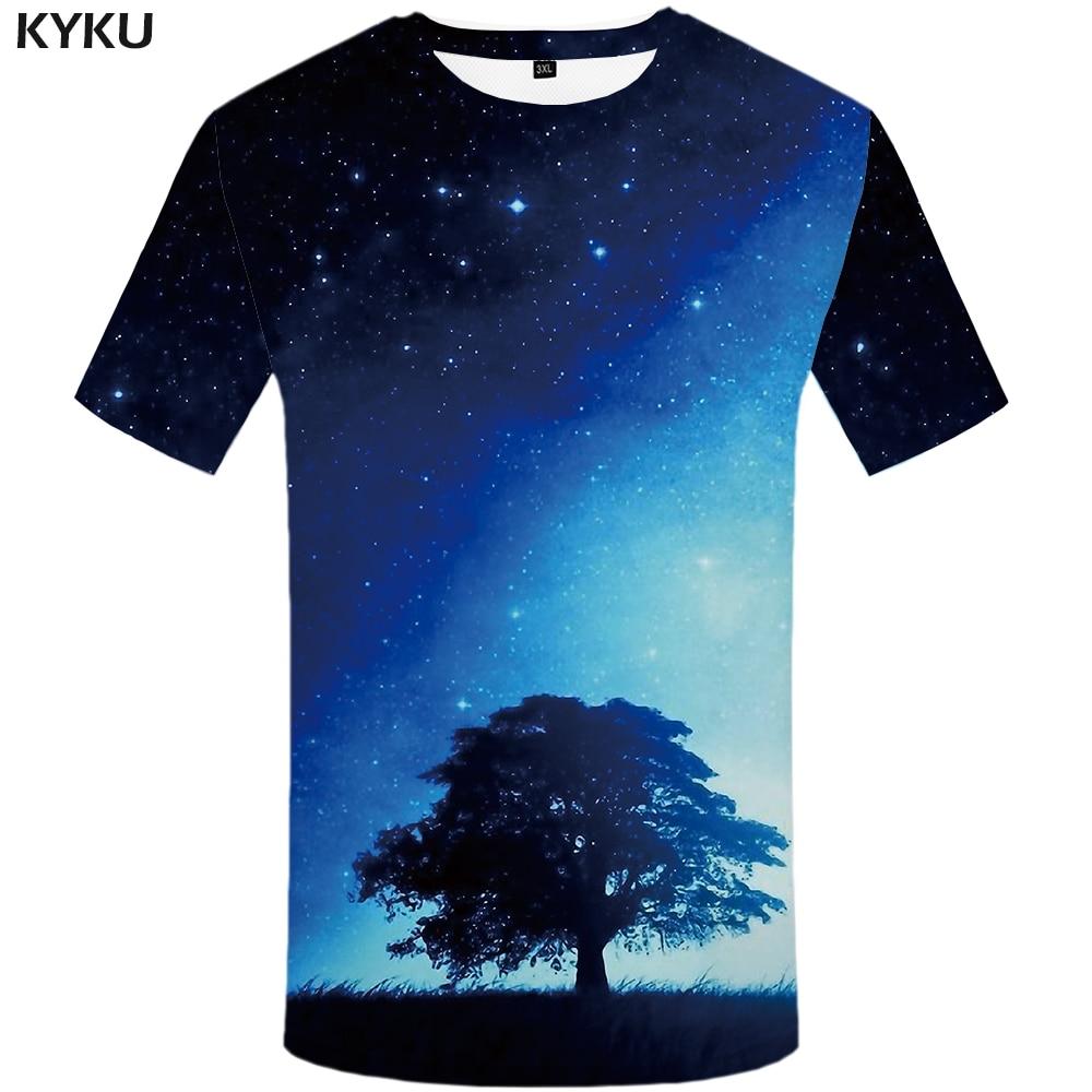 T-shirts Nett Kyku Galaxy T-shirt Männer Blauen Himmel T Shirtstree Hip Hop T Shirt Street 3d T-shirt 2018 Sommer-beiläufige Mens Kleidung Hipster Tops
