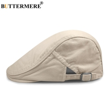 BUTTERMERE Flat Cap Beret Men Cotton Khaki Plain Hats For Women Berets Solid Vintage Summer British Gatsby Style Duckbill Caps