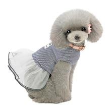 Хлопковая Юбка для маленьких и средних собак; корейские демисезонные платья в полоску для домашних животных; одежда принцессы;