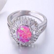 ZHE FAN Luxury Rings For Women Anniversary Wedding Party Gift Creaetd Fire Opal Ring Brand Jewwley Oval Flower Accessories