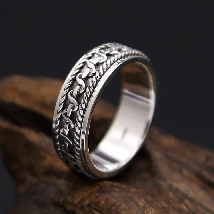 Серебро 925 доллара вращающийся счетчик кольца Для мужчин Lucky группа в 100% реальные стерлингового серебра 925 Прохладный Для мужчин s ювелирные ...