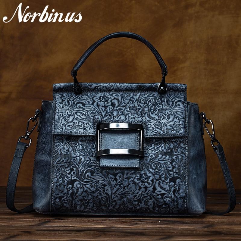 Norbinus Genuine Leather Messenger Shoulder Bag Retro Cowhide Embossed Crossbody Tote Handbags Female Floral Top Handle