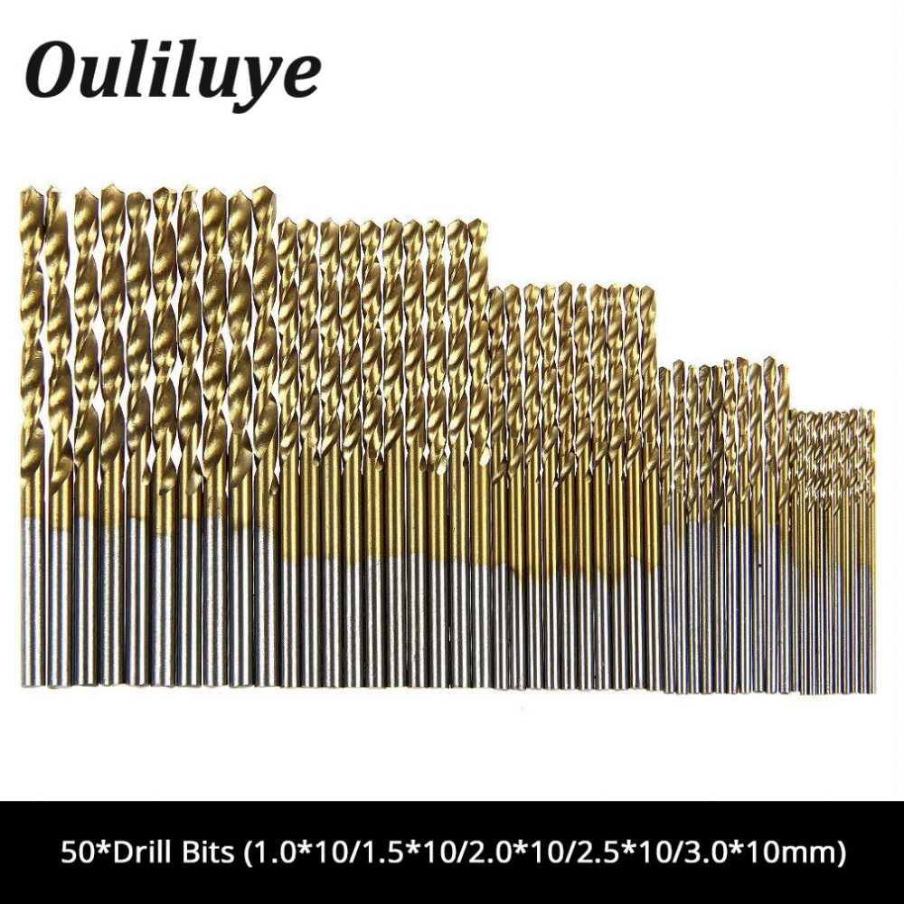 50Pcs/Set HSS Drill Bit Titanium Coated High Speed Steel Drilling Bits Set Woodworking Drilling Tool For Dremel Mini Drill