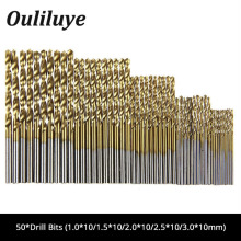 50Pcs/Set HSS Drill Bit Titanium Coated High Speed Steel Drilling Bits Set Woodworking Drilling Tool for Dremel Mini Drill цена 2017