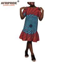 2019 summer african print dress for girls AFRIPRIDE tailor made short sleeve knee length casual midi girls' cotton dress A184004