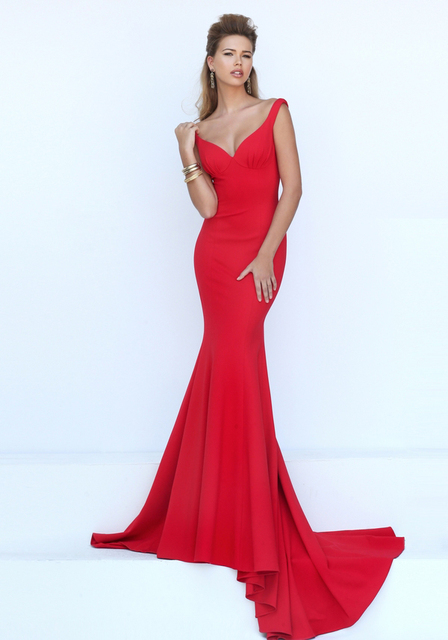 2016 prom dresses sweetheart collar red mermaid dress elegant ...