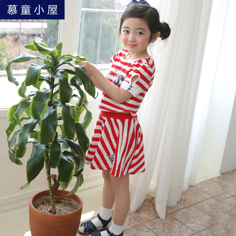 Design Summer cotton stripe T-shirt and skirt clothing set School clothes for girls 2 3 4 5 6 7 8 9 10 years old Girls clothes family fashion summer tops 2015 clothers short sleeve t shirt stripe navy style shirt clothes for mother dad and children