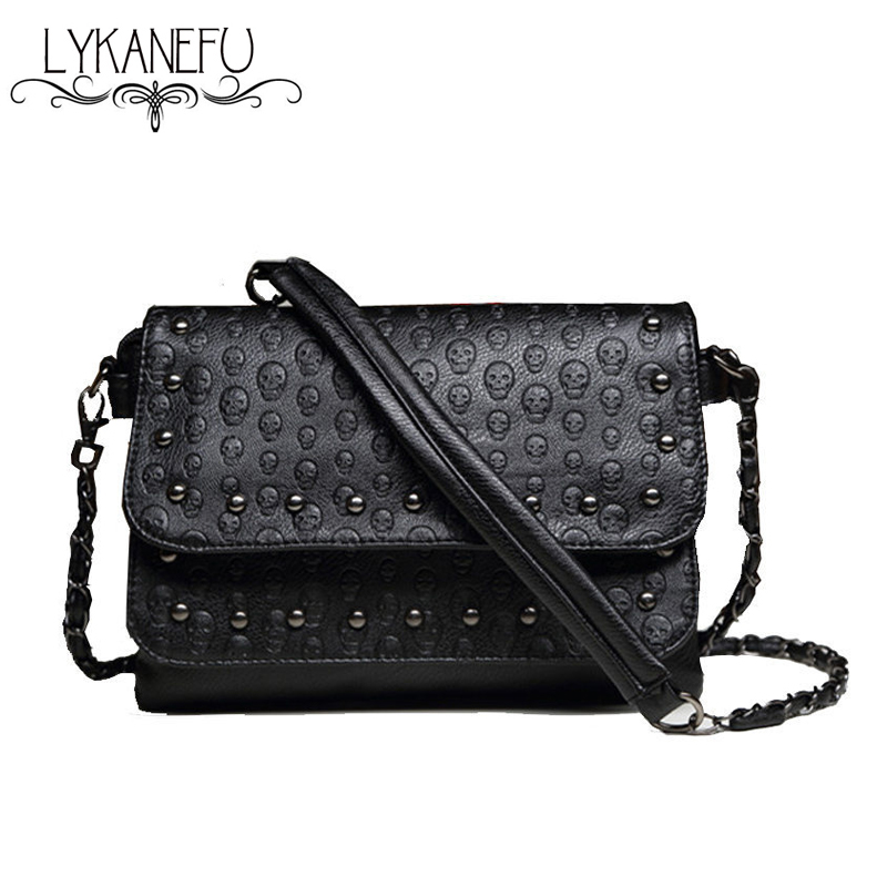 LYKANEFU Fashion Black Rock Skull Bag Women Messenger Bags Designer Handbag Clutch Purse Bag Bolsas Femininas Couro Dollar Price все цены