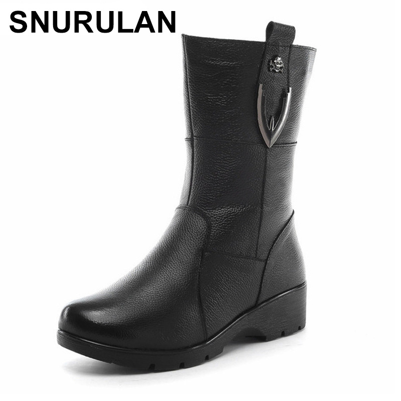 SNURULAN 2017 New Winter Plush Women Boots Mid-Calf Snow Boots Woman Keep Warm Mother Botas Genuine Leather Flats Shoes Women цены онлайн