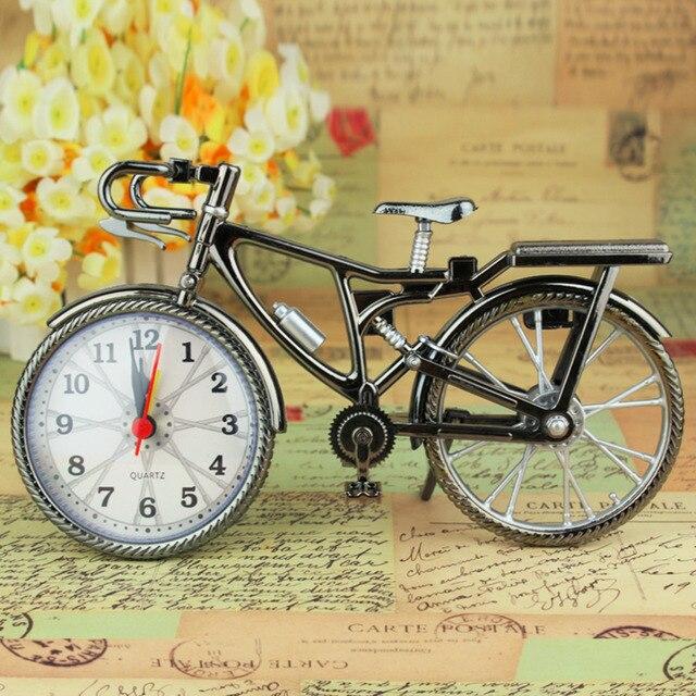 1pcs retro bronze bicycle alarm clock cool fashion desk table clock personality bike clock nz