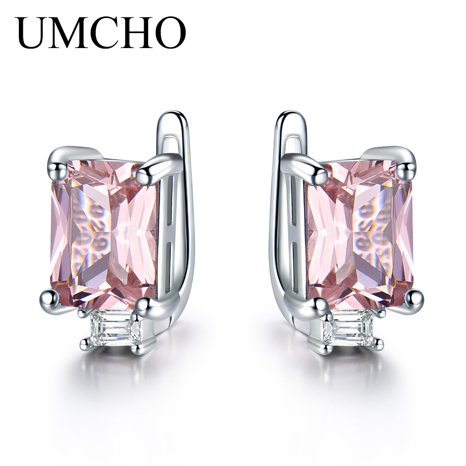 UMCHO Solid 925 Sterling Silver Clip Earrings For Women Rose Pink Morganite Gemstone Wedding Engagement Fashion Jewelry Gift
