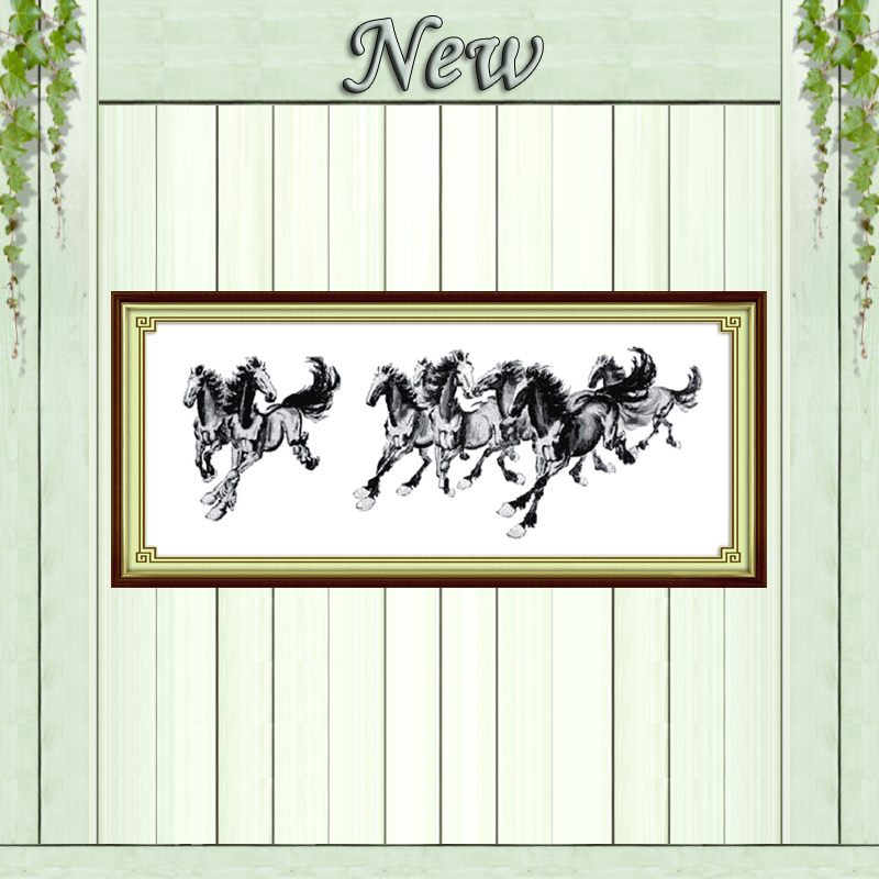 Eight steeds picture decor paintings counted printed on canvas DMC 14CT 11CT Chinese Cross Stitch Needlework Set Embroidery kits image