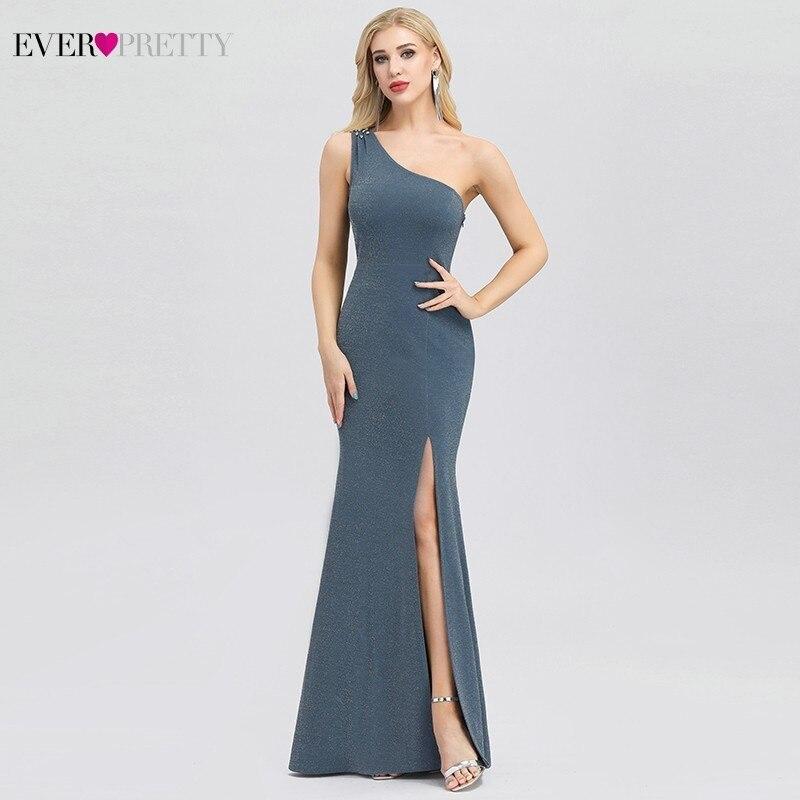 Robe De Soiree Ever Pretty EP00943 Sexy Dusty Blue Evening Dresses One Shoulder Beaded Side Split Elegant Little Mermaid Dresses