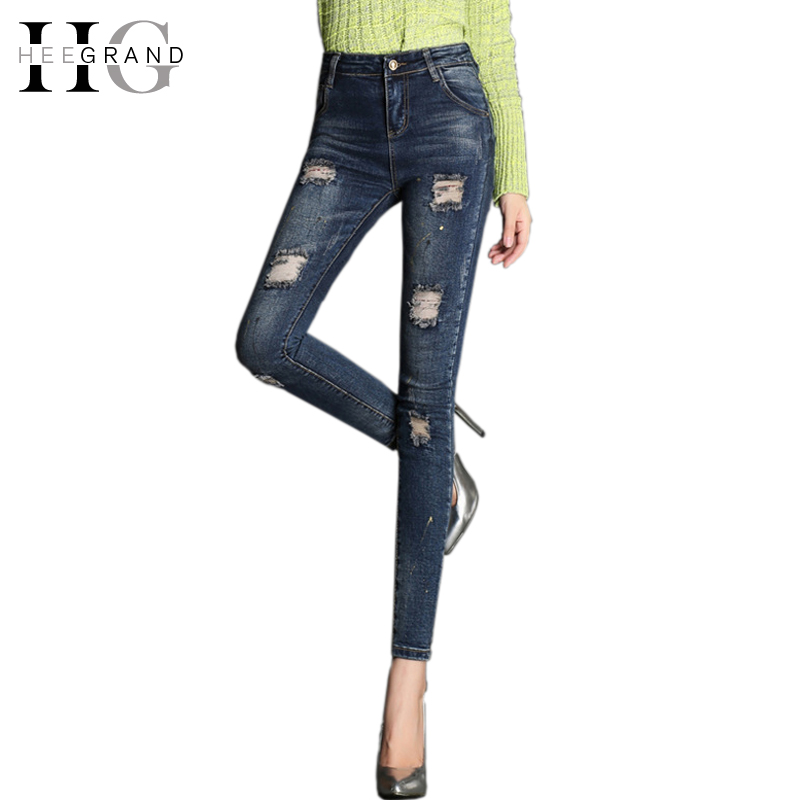 HEE GRAND 2017 Trendy Pantalon Femme Plus Size Slim Full Length Pencil Pants Mid Waist Skinny Ripped Jeans For Women WKN333 fashion stretchy plus size black faux leather pants skinny high waist jeans women pantalon cuero mujer pantalon cuir femme