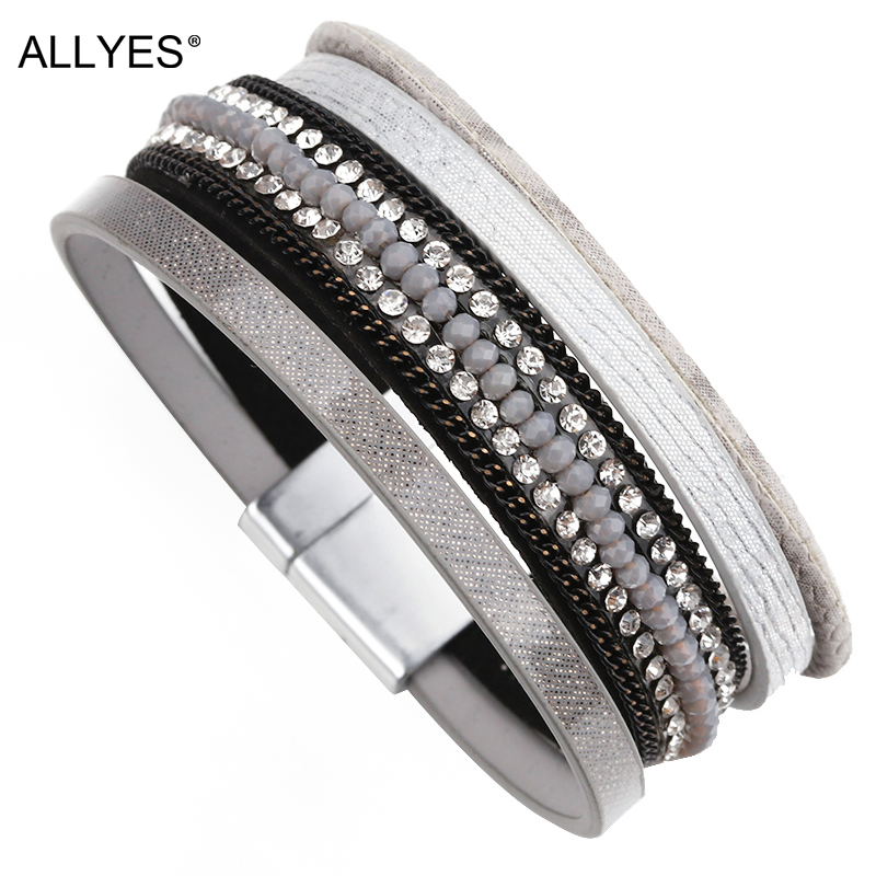 ALLYES Multilayer Leather Bracelet Female Gray Color Rhinestone Crystal Wide Wrap Bracelets & Bangles For Women Jewelry