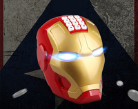 Electronic LED Light and Music Iron man helmet model Password lock Automatic Piggy bank Action figures desk decoration toy gift