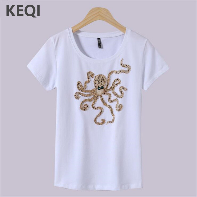 KEQI Women's Top Brand Cotton women's Printing T-Shirt New Coming Octopus t  shirt Clothing