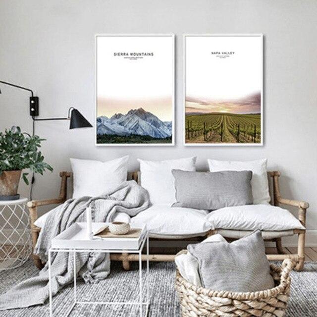 Abstrakte Magnificent Berge Zaun Einsam Pfad Schnee Gras Landscap Moderne  Kunst Home Schlafzimmer Muster Dekorative Malerei