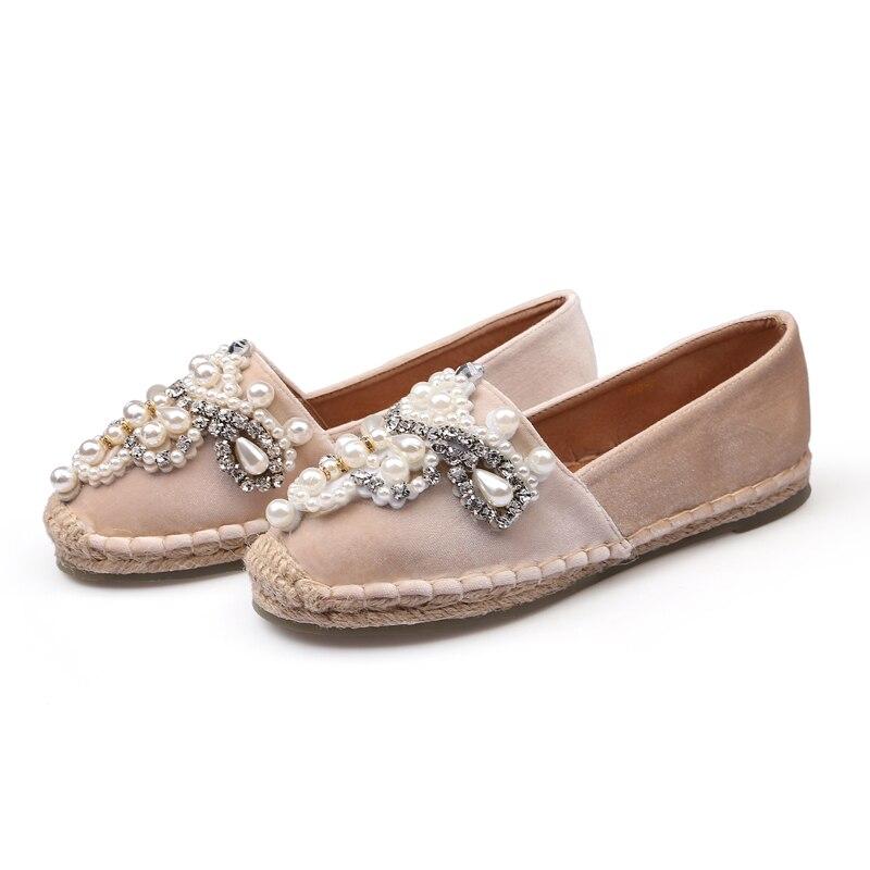 Europäischen Luxus Marke Muffins Frauen Sterne Kristall Müßiggänger Handmade Strass Perlen Espadrilles Damen Gestrickte Fischer Schuhe Flache Damenschuhe