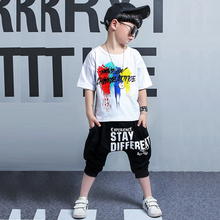 new 2019 summer kids Clothing Graffiti tshirt+harem pant toddler boy clothes Cool Kids Hip Hop Sports Suit kid