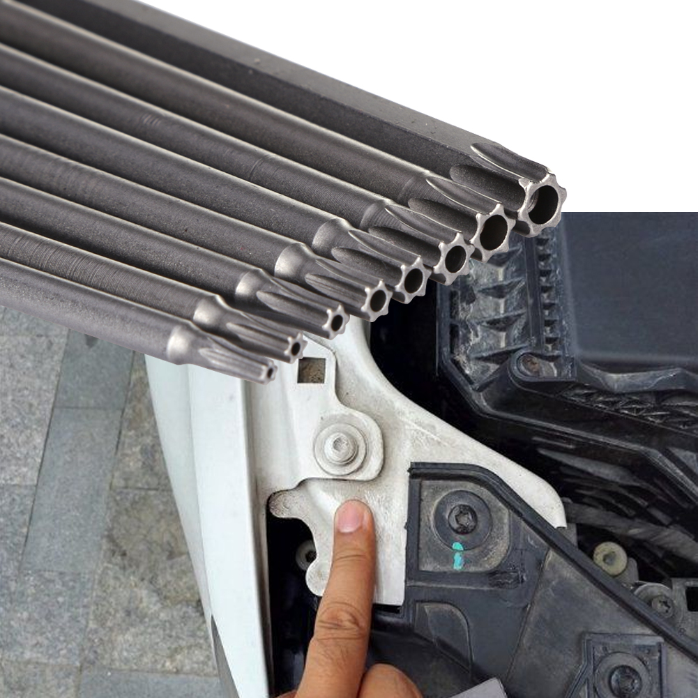8 Size 100mm 1/4'' Hex Shank Magnetic Torx Screwdriver Bits Set T8 T10 T15 T20 T25 T27 T30 T40 Electric 100mm Screwdriver Tools
