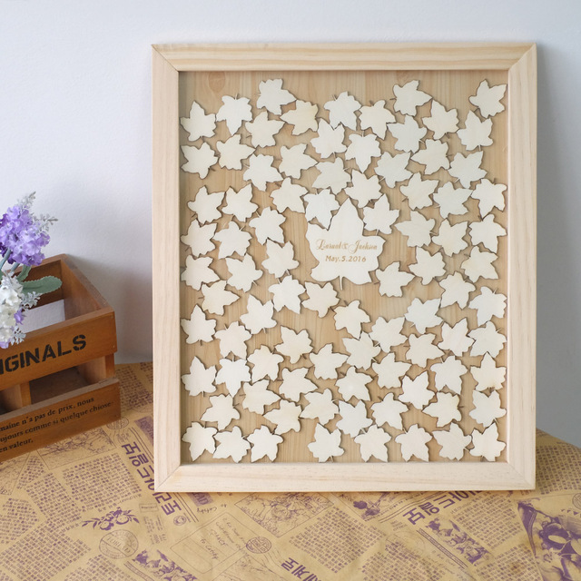 Unique Wedding Guest Book Personalized Frame Rustic Alternative Drop Box Guestbook For