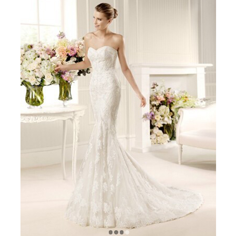 Lace Fit And Flare Wedding Gown: W170 Elegant Mermaid Church Sweetheart Bridal Gown Long