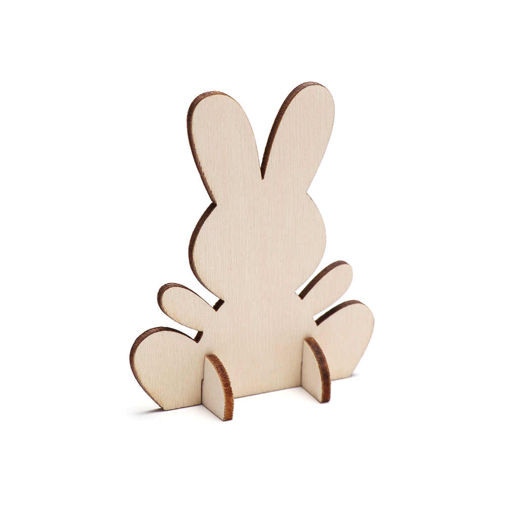 10pcslot Lovely 3d Easter Rabbit Wooden Ornaments Diy Creative Home Decor Embellishments Cutouts Craft Bunny Hanging Ornament